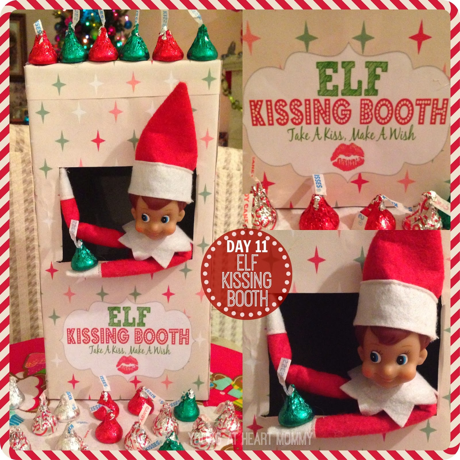image about Elf on the Shelf Kissing Booth Free Printable identify 25 Times Of Elf Upon The Shelf Guidelines - Youthful At Centre Mommy