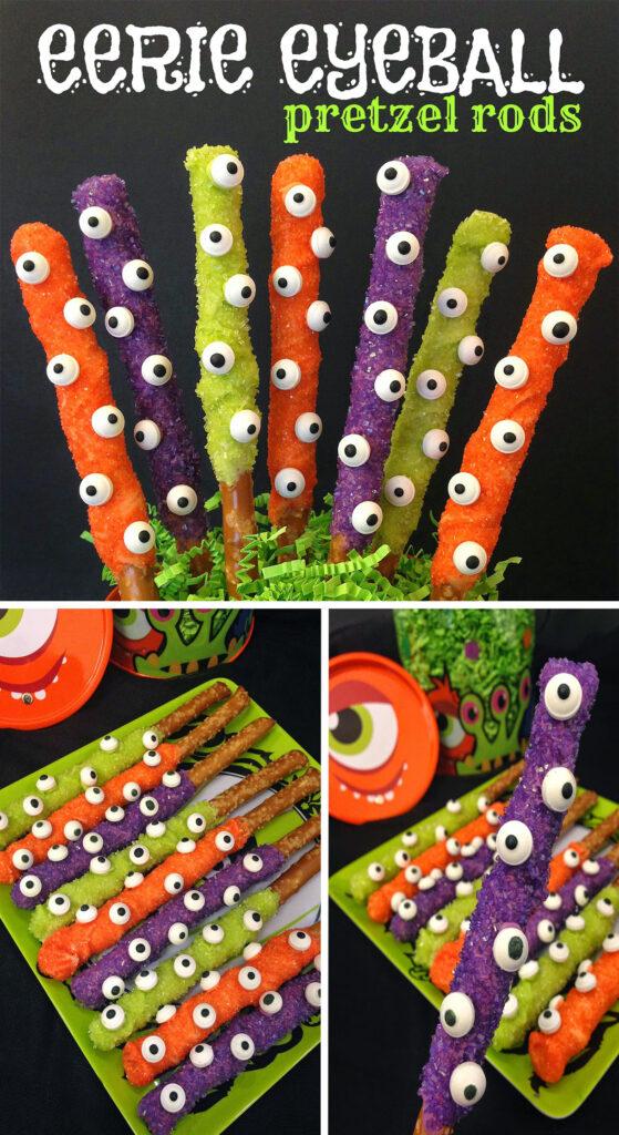 Halloween Treats With Pretzel Sticks.Eerie Eyeball Pretzel Rods Young At Heart Mommy