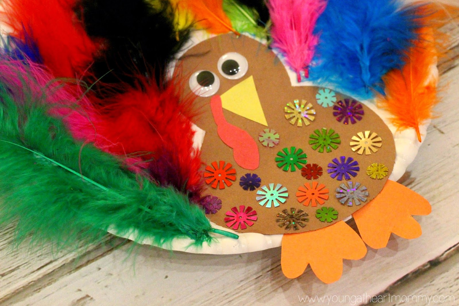 & Paper Plate Feathered Turkey Craft - Young At Heart Mommy