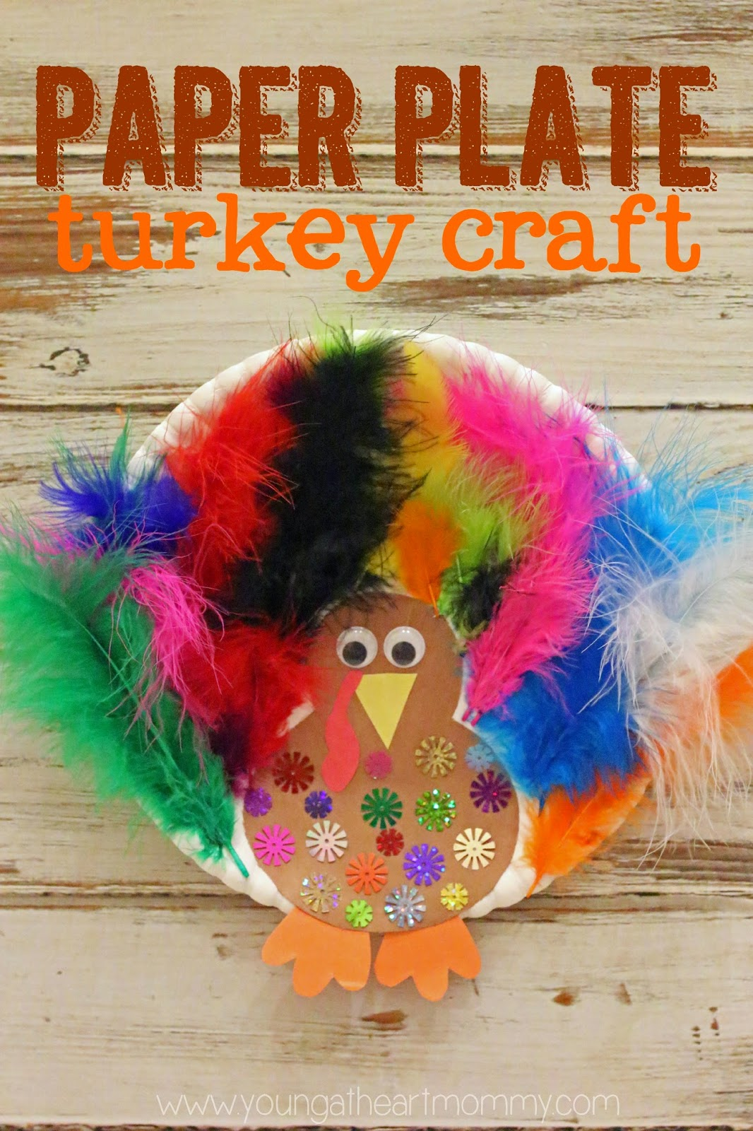 Today I had the pleasure of spending time with 18 incredible Kindergartners who love to create and craft just as much as I do. My daughteru0027s class had an ...  sc 1 st  Young At Heart Mommy & Paper Plate Feathered Turkey Craft - Young At Heart Mommy
