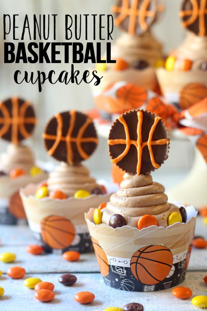 REESE'S Peanut Butter Basketball Cupcakes