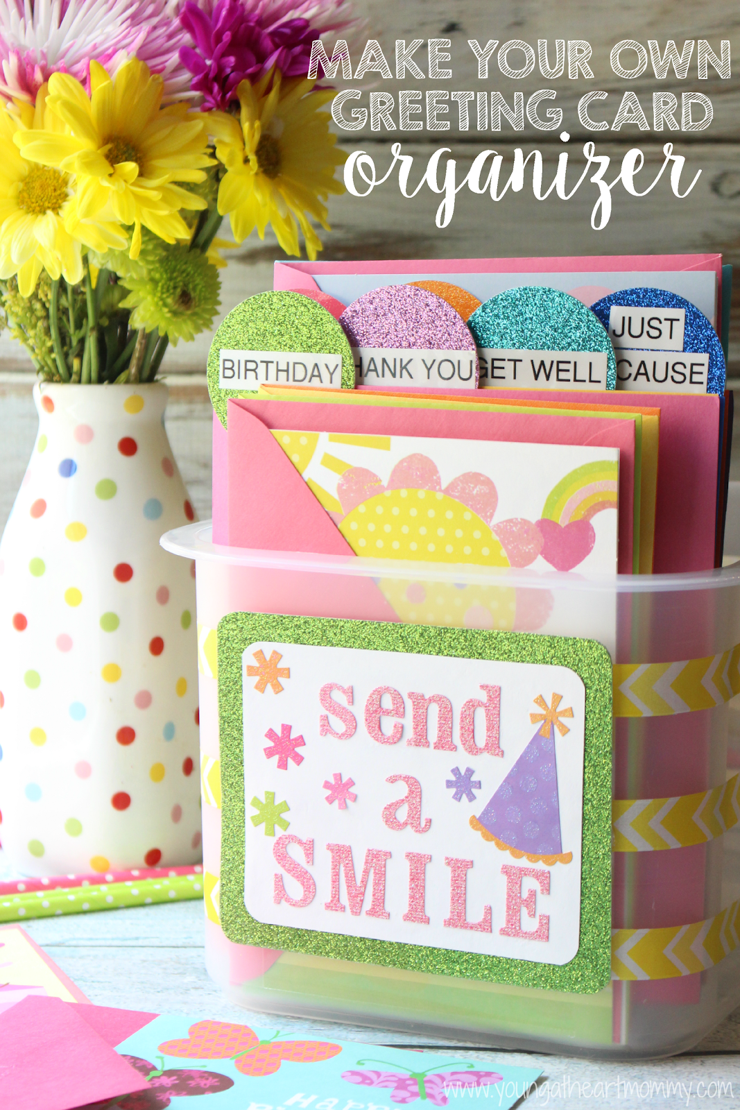 Send a smile with hallmark diy greeting card organizer young at diy greeting card organizer using cardstock paper and a storage bin m4hsunfo