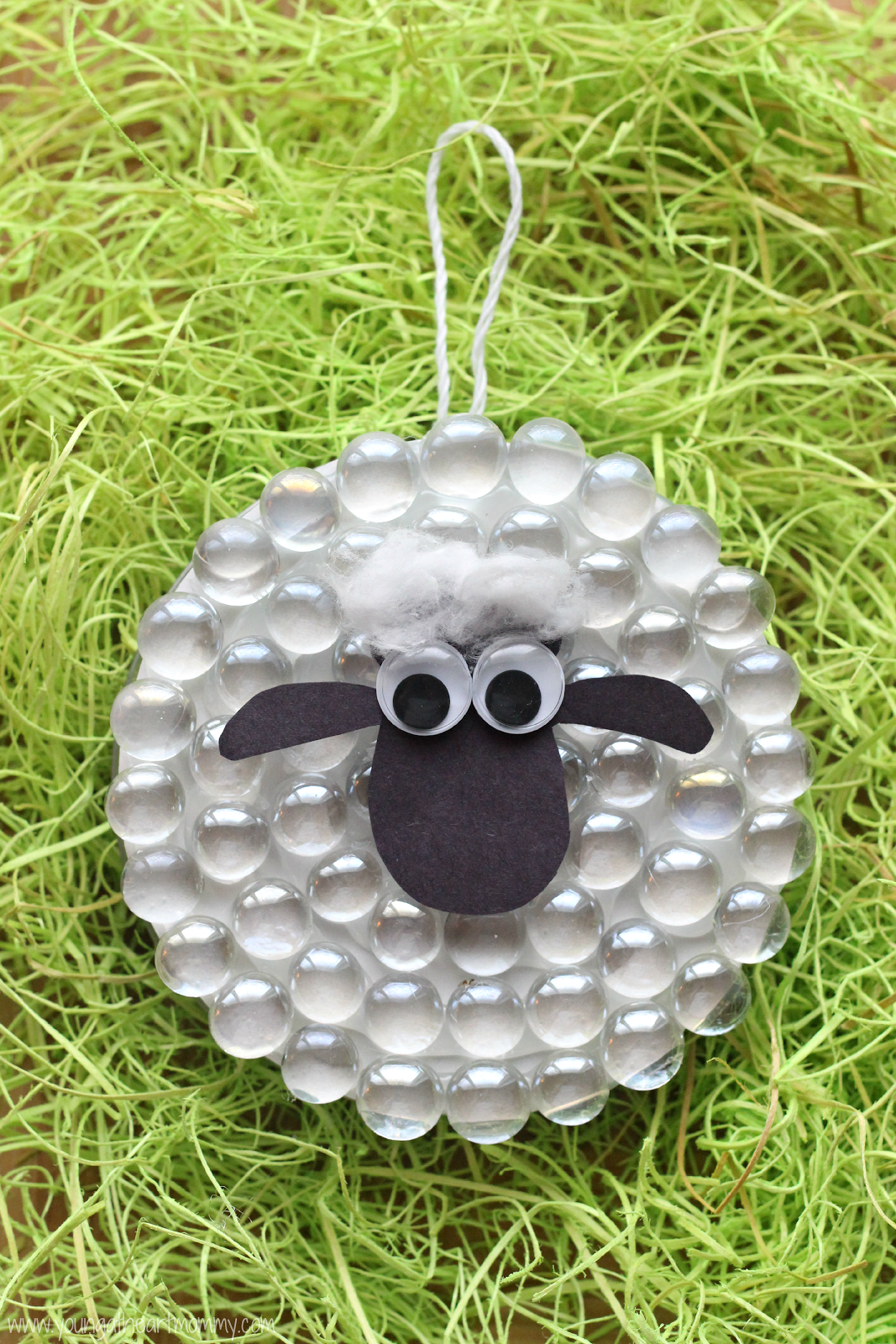 Shaun the sheep glass marble ornament young at heart mommy for Sheep christmas ornament craft