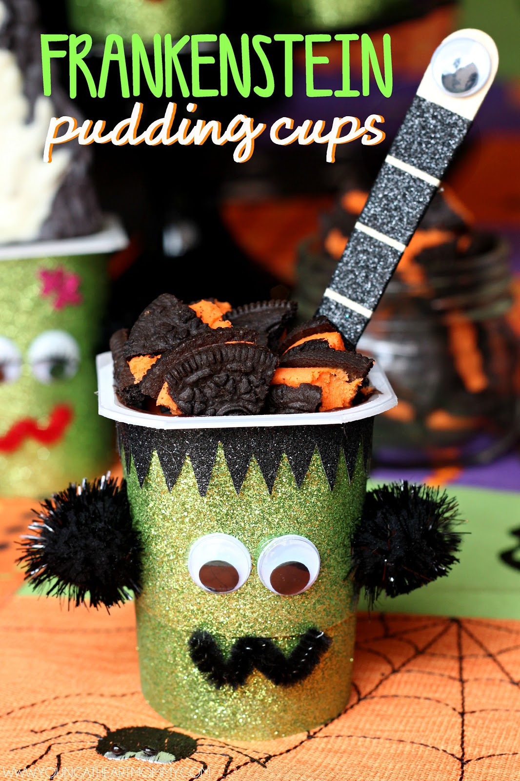 frightfully fun frankenstein pudding cups young at heart mommy. Black Bedroom Furniture Sets. Home Design Ideas