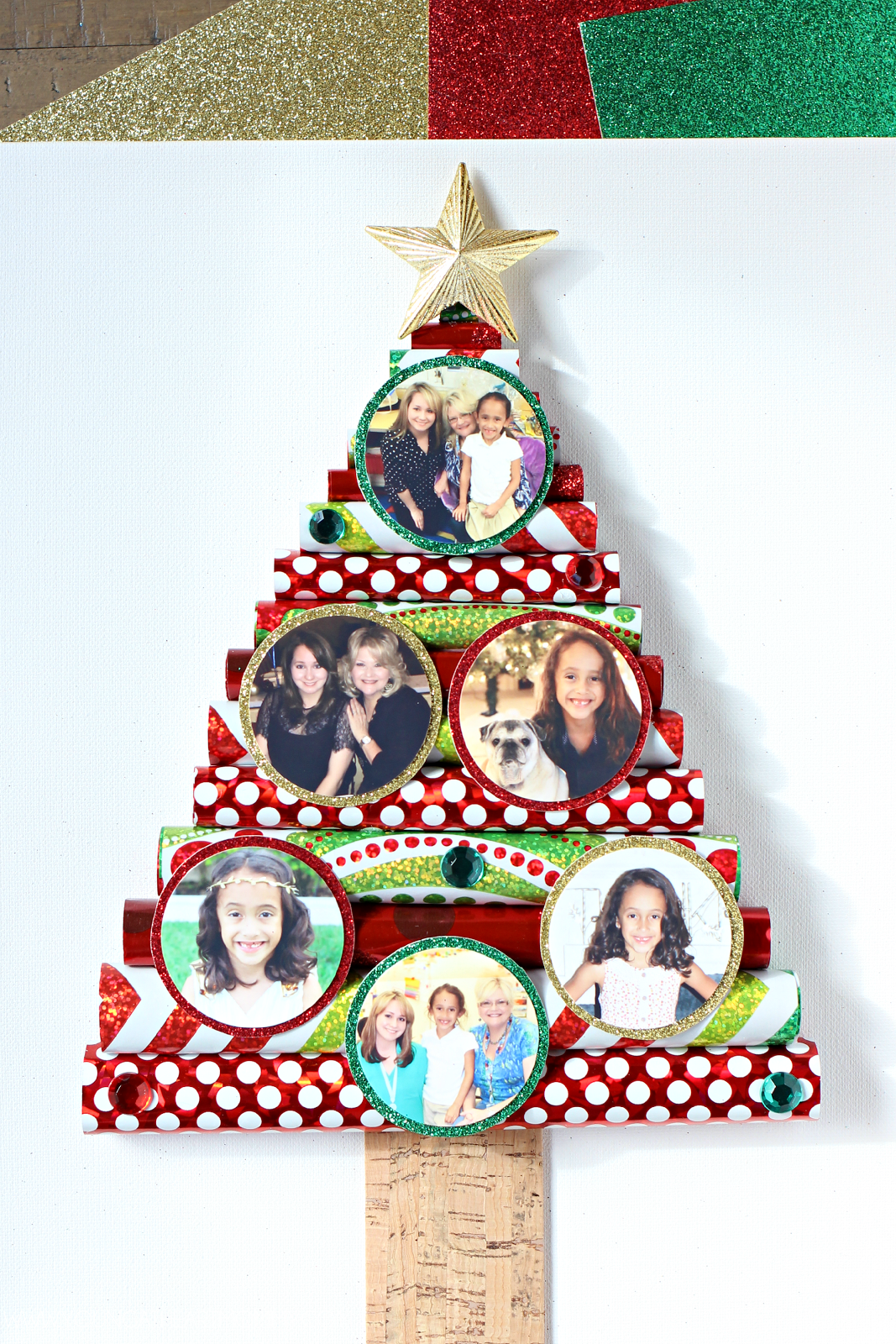 Christmas Tree Decorations Using Paper : Wrapping paper christmas tree canvas with photo ornaments
