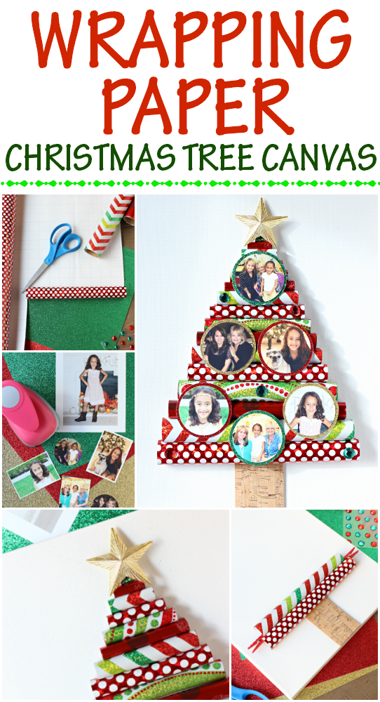 Wrapping Paper Christmas Tree Canvas.