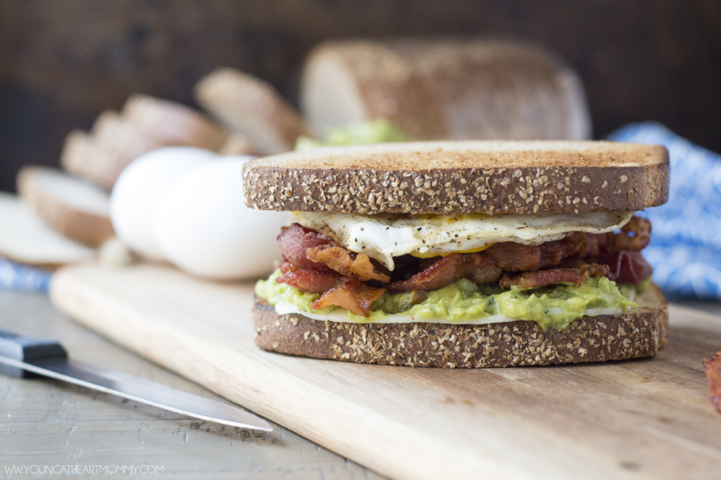 Fried Egg, Bacon, And Guacamole Breakfast Sandwich