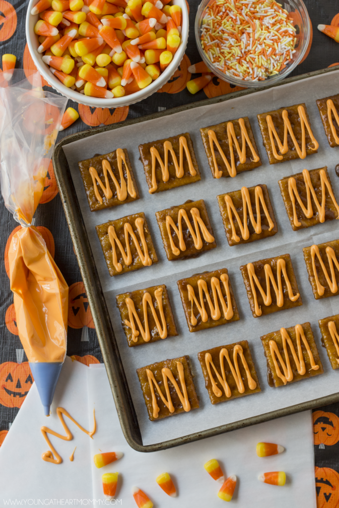 Sweet and Salty Candy Corn Toffee