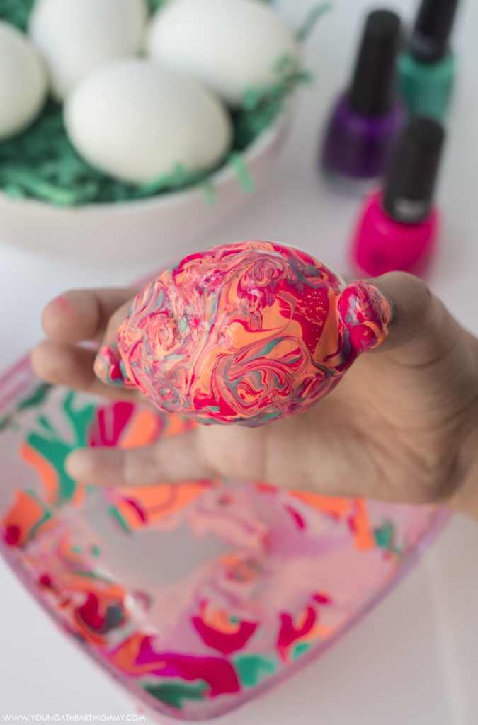 Marbled Easter Eggs Using Nail Polish Young At Heart Mommy