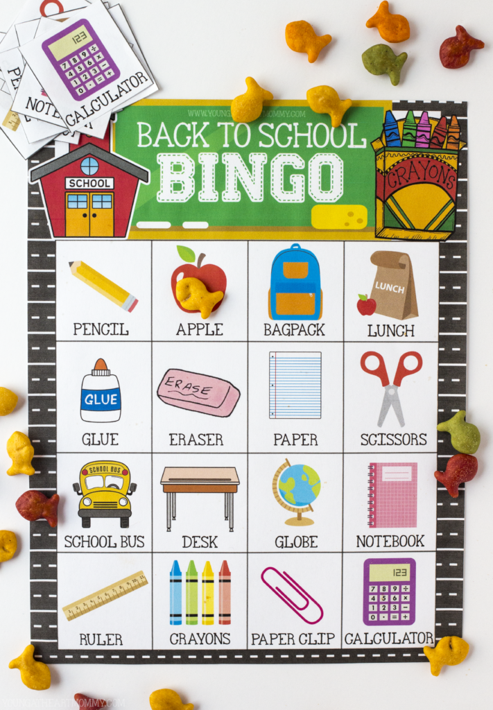 Free Printable Back To School BINGO Game Cards
