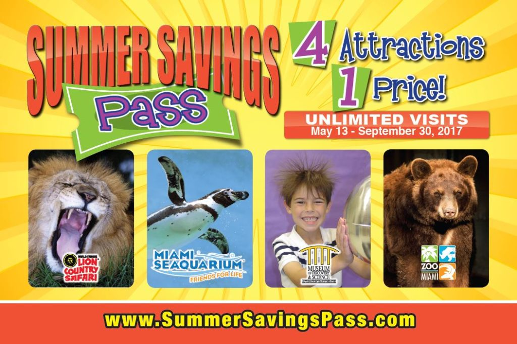 South Florida Summer Savings Pass grants unlimited access to Lion Country Safari, Miami Seaquarium, Museum of Discovery and Science and Zoo Miami.