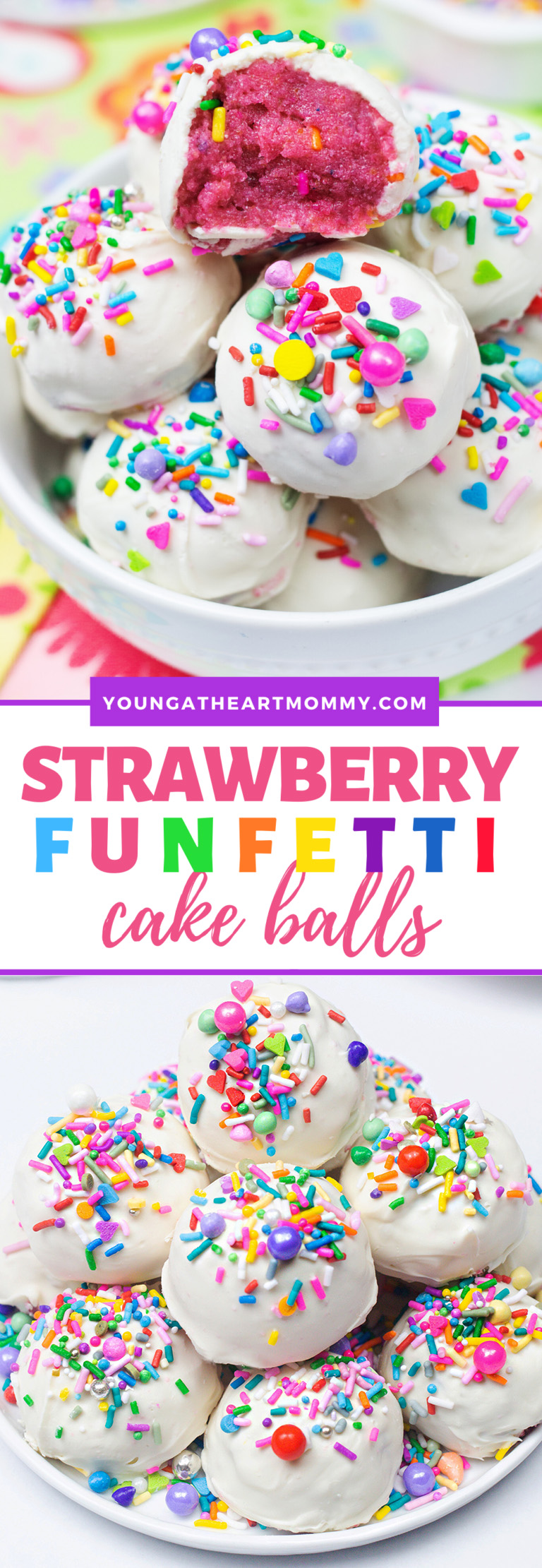 Easy Strawberry Funfetti Cake Balls Recipe