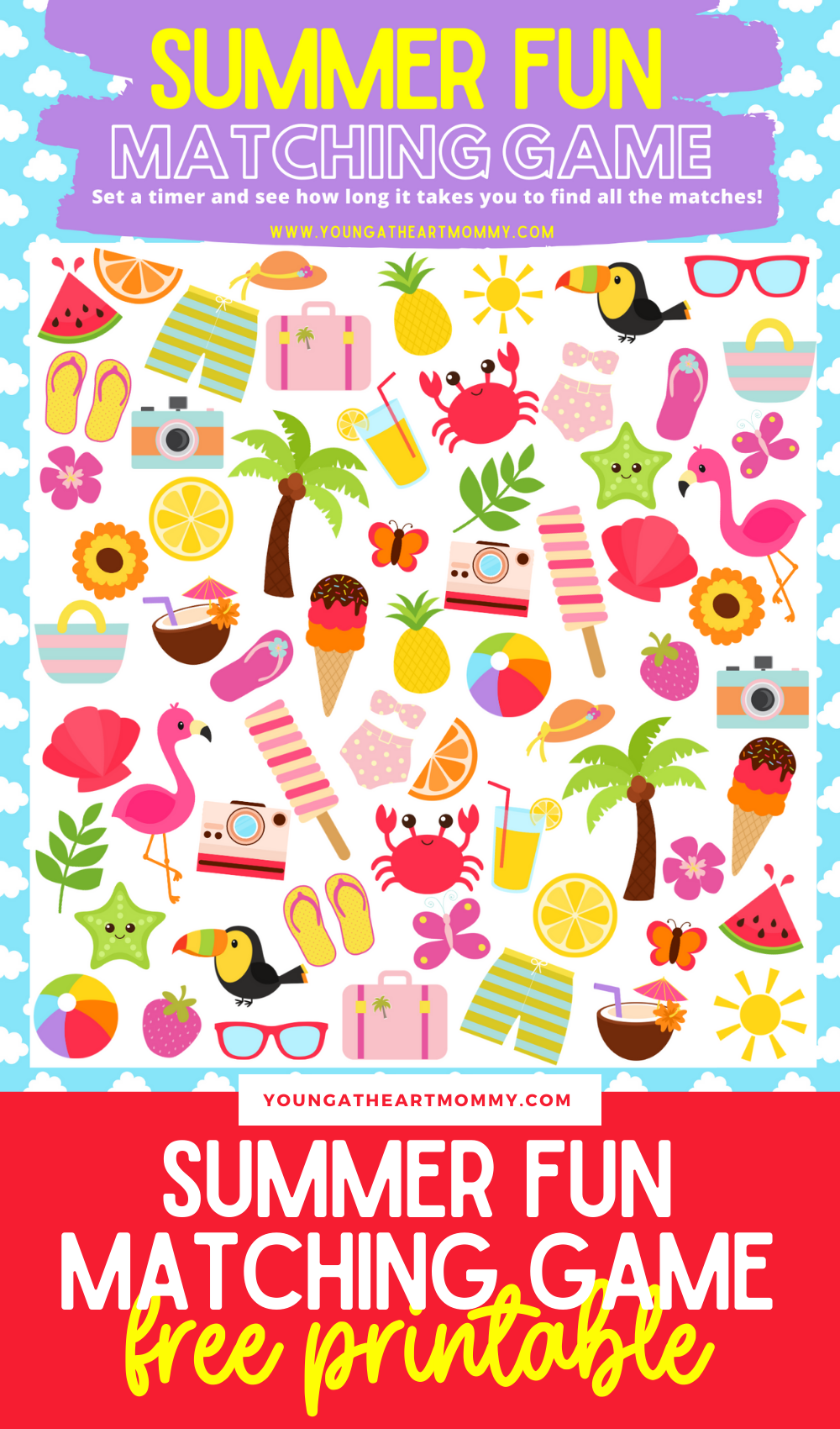 Summertime Matching Game Printable For Kids